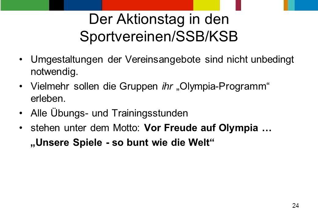 24 Der Aktionstag in den Sportvereinen/SSB/KSB Umgestaltungen der Vereinsangebote sind nicht unbedingt notwendig. Vielmehr sollen die Gruppen ihr Olym