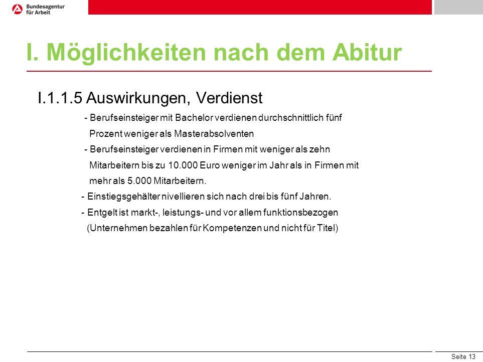 Seite 13 I. Möglichkeiten nach dem Abitur I.1.1.5 Auswirkungen, Verdienst - Berufseinsteiger mit Bachelor verdienen durchschnittlich fünf Prozent weni