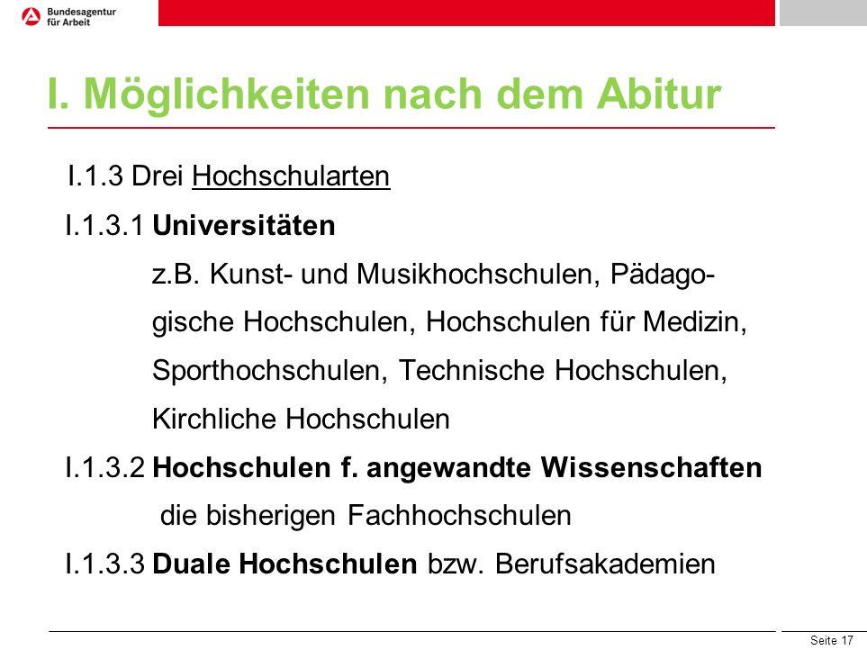 Seite 17 I. Möglichkeiten nach dem Abitur I.1.3 Drei Hochschularten I.1.3.1 Universitäten z.B. Kunst- und Musikhochschulen, Pädago- gische Hochschulen