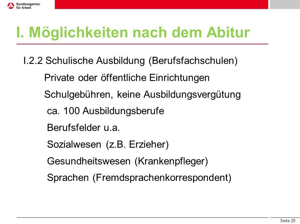 Seite 29 I. Möglichkeiten nach dem Abitur I.2.2 Schulische Ausbildung (Berufsfachschulen) Private oder öffentliche Einrichtungen Schulgebühren, keine