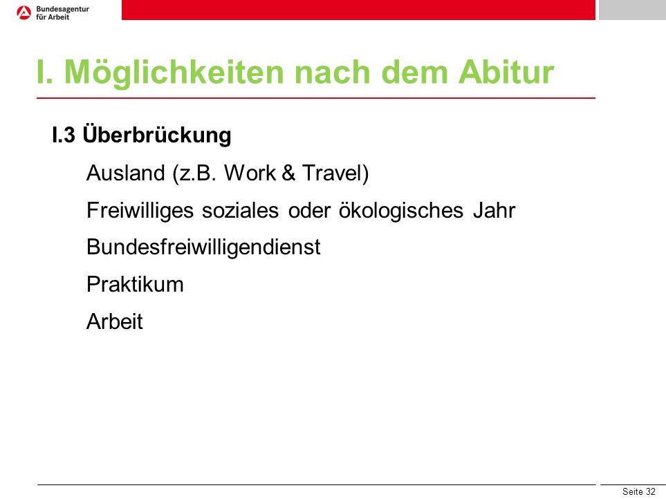 Seite 32 I. Möglichkeiten nach dem Abitur I.3 Überbrückung Ausland (z.B. Work & Travel) Freiwilliges soziales oder ökologisches Jahr Bundesfreiwillige