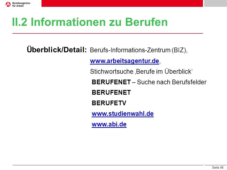 Seite 46 II.2 Informationen zu Berufen Überblick/Detail: Berufs-Informations-Zentrum (BIZ), www.arbeitsagentur.de,www.arbeitsagentur.de Stichwortsuche