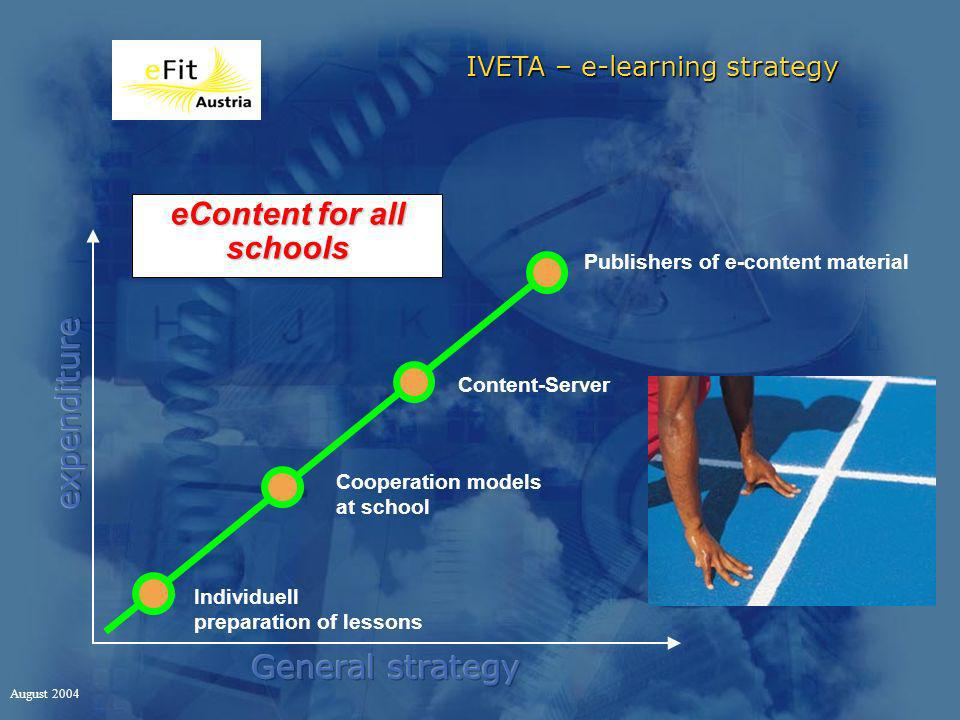 IVETA – e-learning strategy August 2004 Cooperation models at school Content-Server Publishers of e-content material eContent for all schools