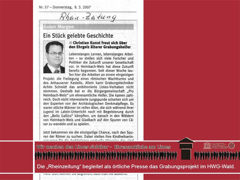 Die Rheinzeitung begleitet als örtliche Presse das Grabungsprojekt im HWG-Wald.