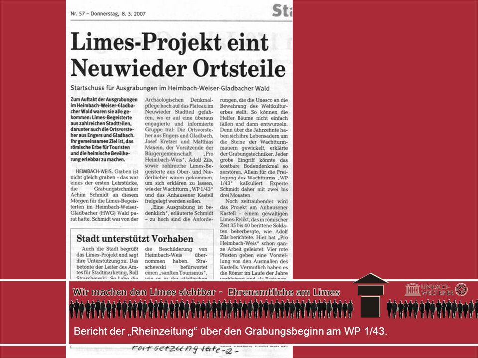 Bericht der Rheinzeitung über den Grabungsbeginn am WP 1/43.