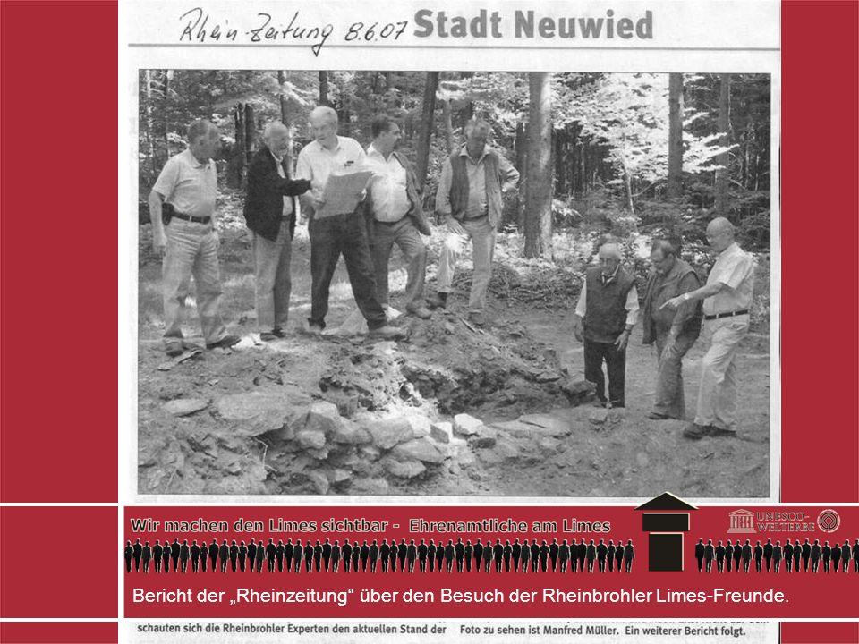 Bericht der Rheinzeitung über den Besuch der Rheinbrohler Limes-Freunde.