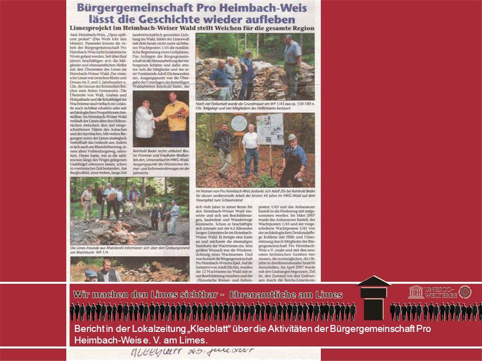 Bericht in der Lokalzeitung Kleeblatt über die Aktivitäten der Bürgergemeinschaft Pro Heimbach-Weis e.