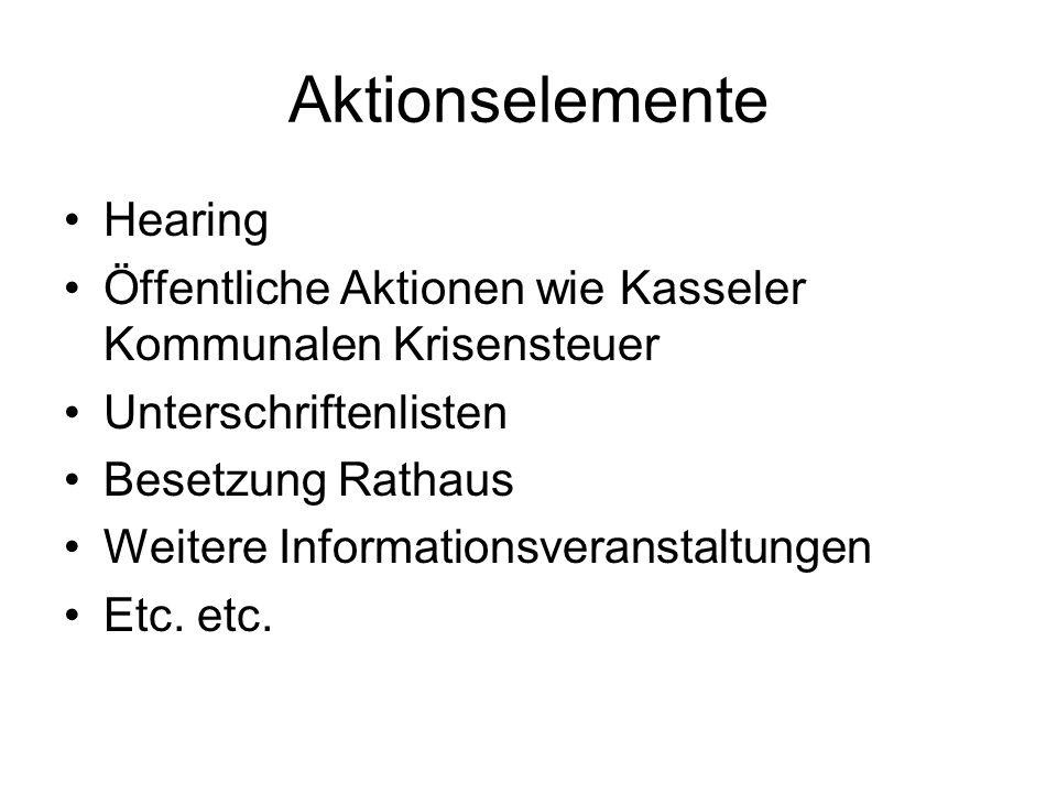 Aktionselemente Hearing Öffentliche Aktionen wie Kasseler Kommunalen Krisensteuer Unterschriftenlisten Besetzung Rathaus Weitere Informationsveranstal