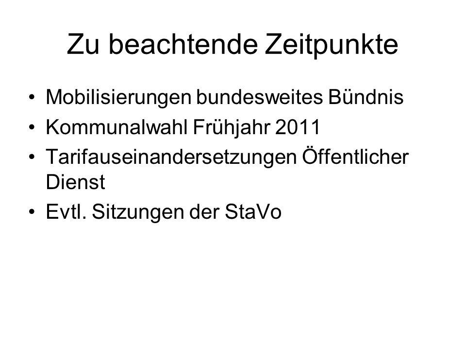 Zu beachtende Zeitpunkte Mobilisierungen bundesweites Bündnis Kommunalwahl Frühjahr 2011 Tarifauseinandersetzungen Öffentlicher Dienst Evtl. Sitzungen