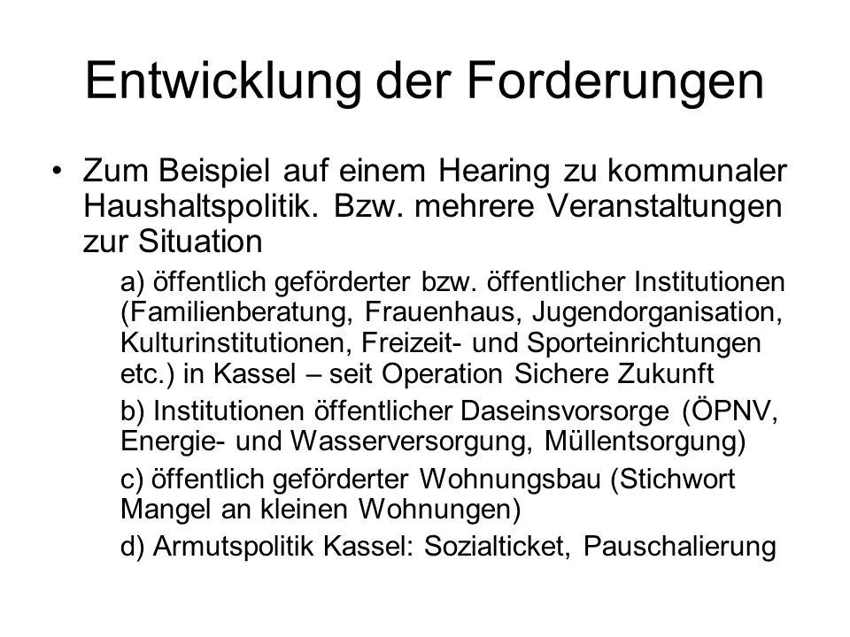 Entwicklung der Forderungen Zum Beispiel auf einem Hearing zu kommunaler Haushaltspolitik.