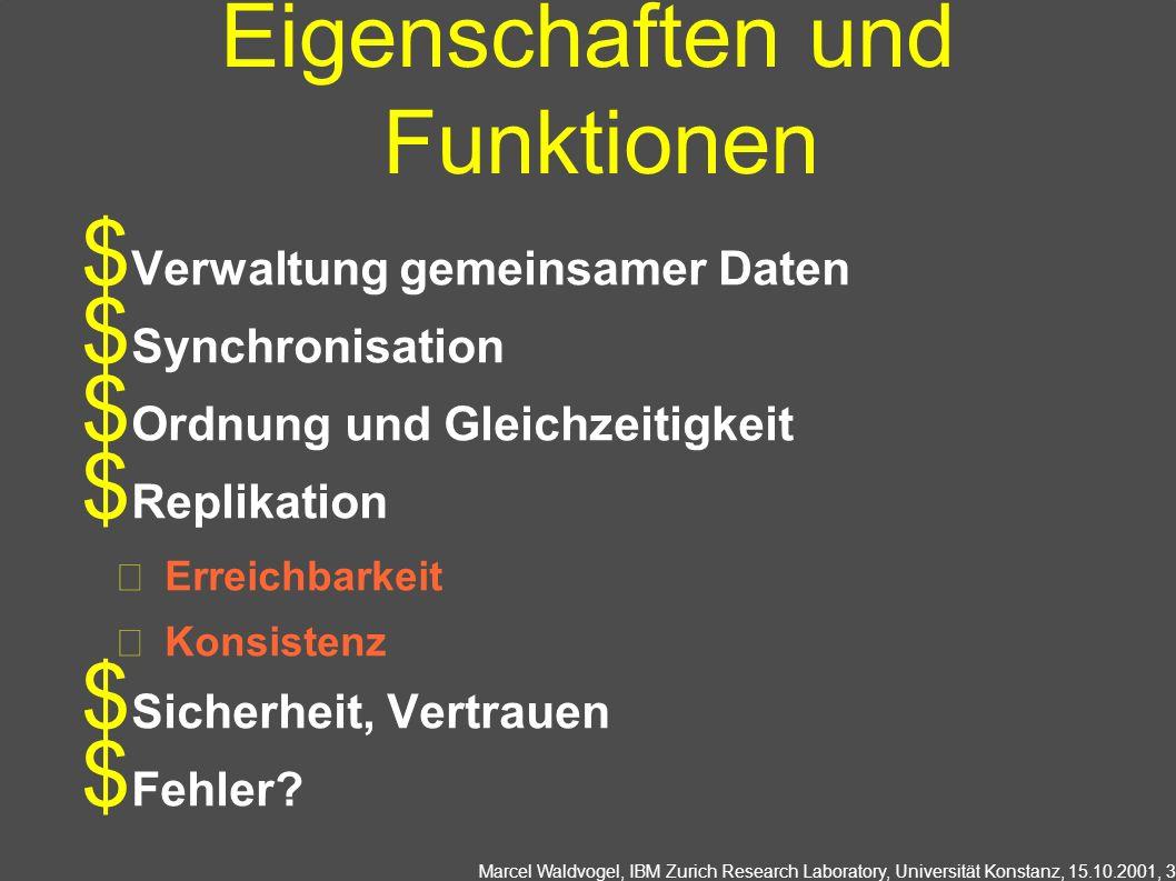 Marcel Waldvogel, IBM Zurich Research Laboratory, Universität Konstanz, 15.10.2001, 3 Eigenschaften und Funktionen Verwaltung gemeinsamer Daten Synchronisation Ordnung und Gleichzeitigkeit Replikation Erreichbarkeit Konsistenz Sicherheit, Vertrauen Fehler