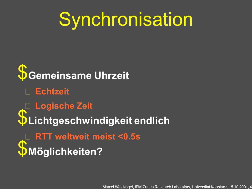 Marcel Waldvogel, IBM Zurich Research Laboratory, Universität Konstanz, 15.10.2001, 4 Synchronisation Gemeinsame Uhrzeit Echtzeit Logische Zeit Lichtgeschwindigkeit endlich RTT weltweit meist <0.5s Möglichkeiten