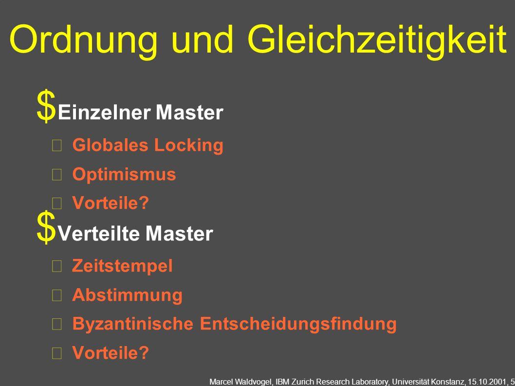 Marcel Waldvogel, IBM Zurich Research Laboratory, Universität Konstanz, 15.10.2001, 5 Ordnung und Gleichzeitigkeit Einzelner Master Globales Locking Optimismus Vorteile.