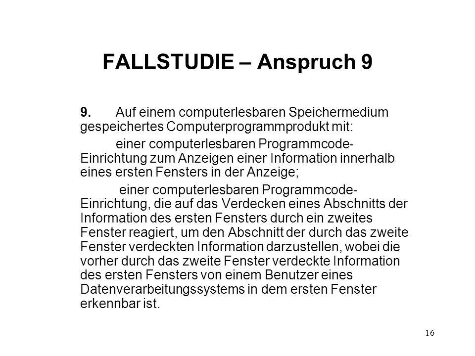 FALLSTUDIE – Anspruch 9 9.