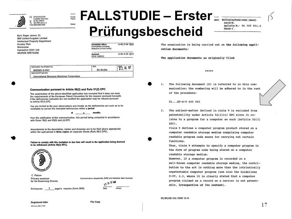 FALLSTUDIE – Erster Prüfungsbescheid 17
