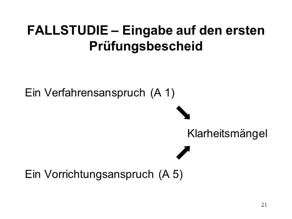FALLSTUDIE – Eingabe auf den ersten Prüfungsbescheid Ein Verfahrensanspruch (A 1) Klarheitsmängel Ein Vorrichtungsanspruch (A 5) 21