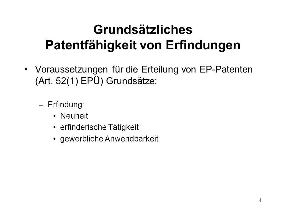 Grundsätzliches Patentfähigkeit von Erfindungen Voraussetzungen für die Erteilung von EP-Patenten (Art.