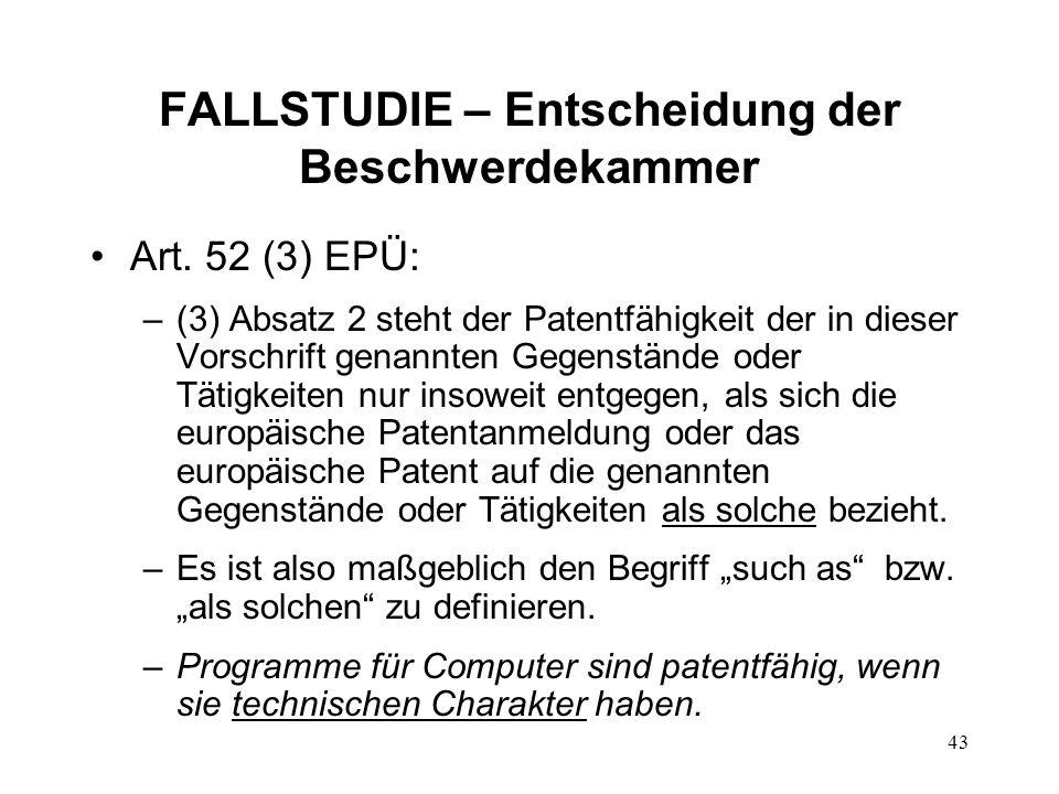FALLSTUDIE – Entscheidung der Beschwerdekammer Art.