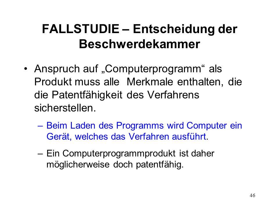 FALLSTUDIE – Entscheidung der Beschwerdekammer Anspruch auf Computerprogramm als Produkt muss alle Merkmale enthalten, die die Patentfähigkeit des Verfahrens sicherstellen.