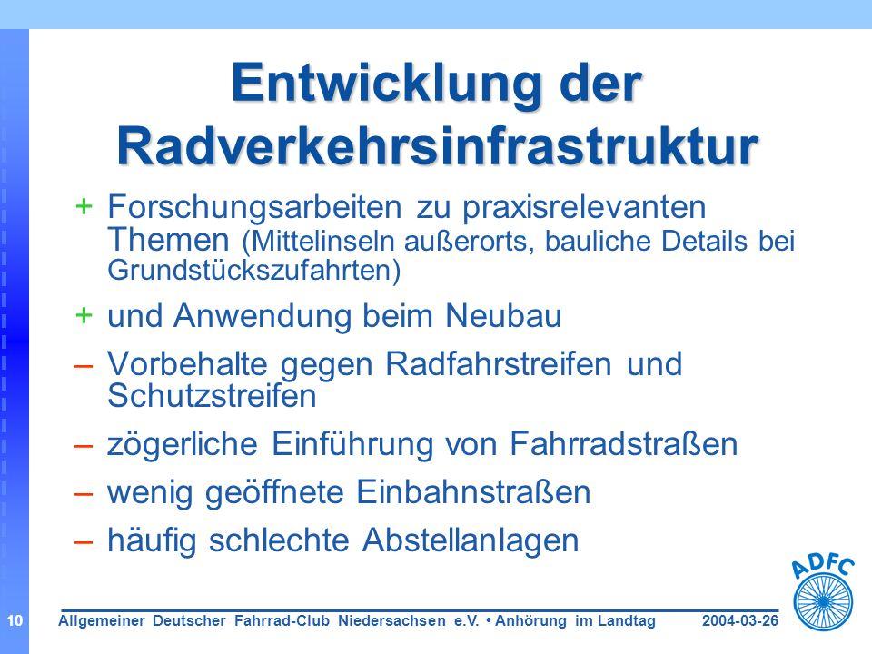 2004-03-26Allgemeiner Deutscher Fahrrad-Club Niedersachsen e.V. Anhörung im Landtag10 Entwicklung der Radverkehrsinfrastruktur +Forschungsarbeiten zu