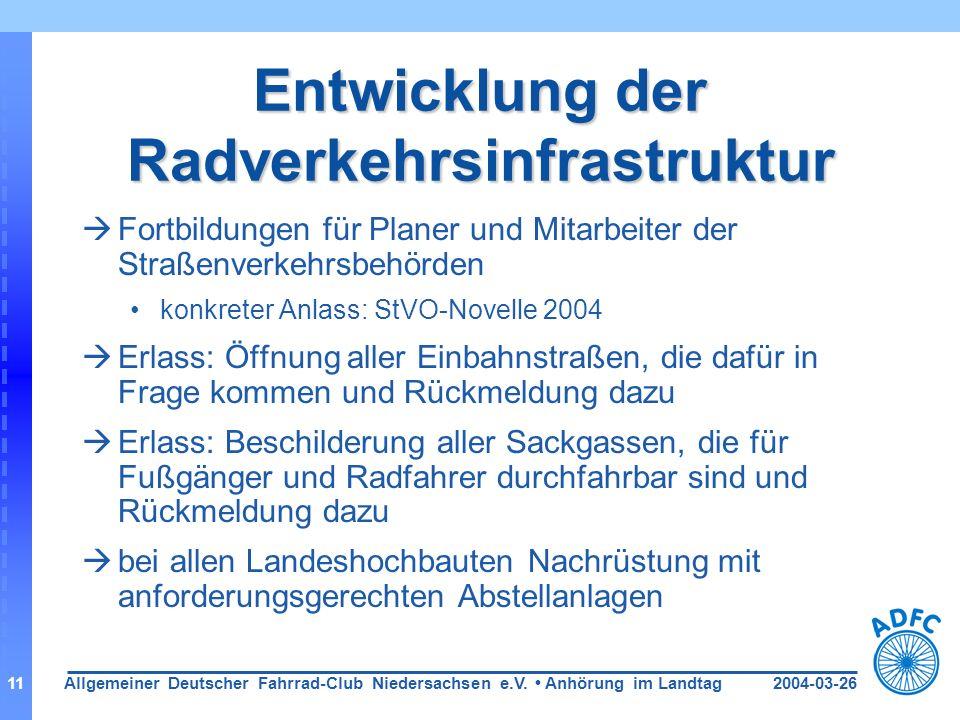 2004-03-26Allgemeiner Deutscher Fahrrad-Club Niedersachsen e.V. Anhörung im Landtag11 Entwicklung der Radverkehrsinfrastruktur Fortbildungen für Plane