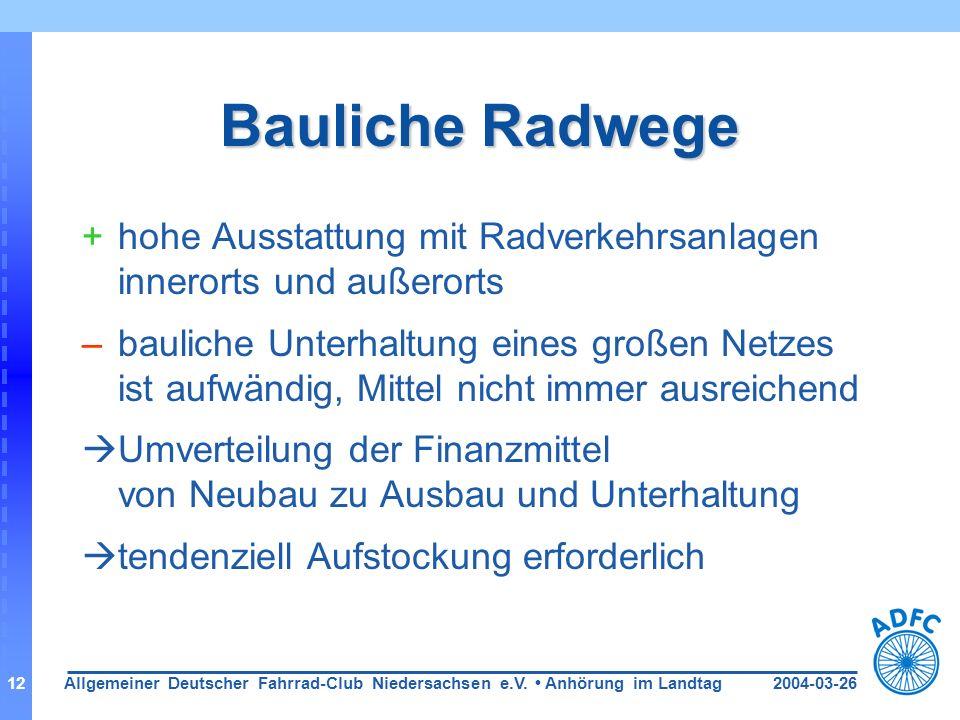2004-03-26Allgemeiner Deutscher Fahrrad-Club Niedersachsen e.V. Anhörung im Landtag12 Bauliche Radwege +hohe Ausstattung mit Radverkehrsanlagen innero