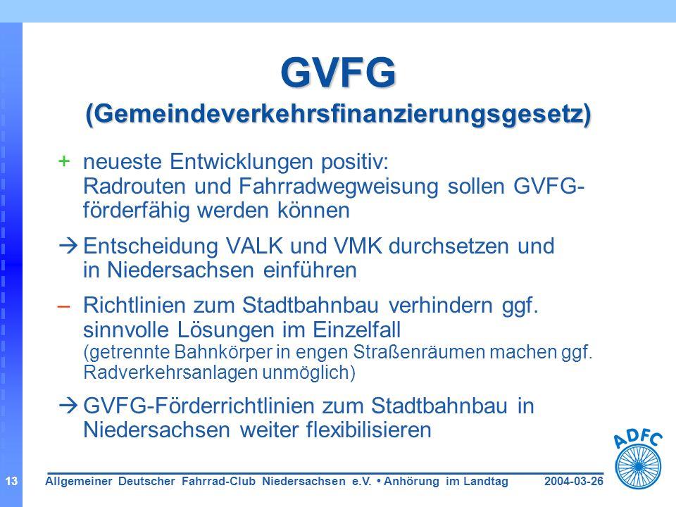 2004-03-26Allgemeiner Deutscher Fahrrad-Club Niedersachsen e.V. Anhörung im Landtag13 GVFG (Gemeindeverkehrsfinanzierungsgesetz) +neueste Entwicklunge