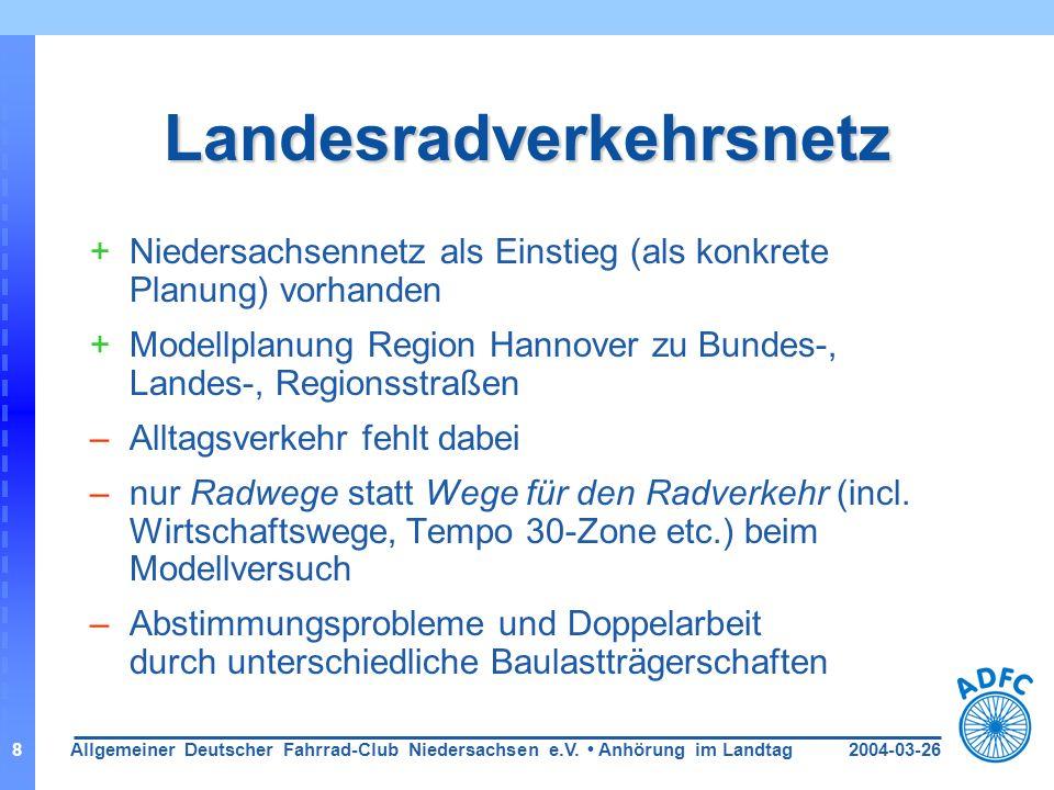 2004-03-26Allgemeiner Deutscher Fahrrad-Club Niedersachsen e.V. Anhörung im Landtag8 Landesradverkehrsnetz +Niedersachsennetz als Einstieg (als konkre
