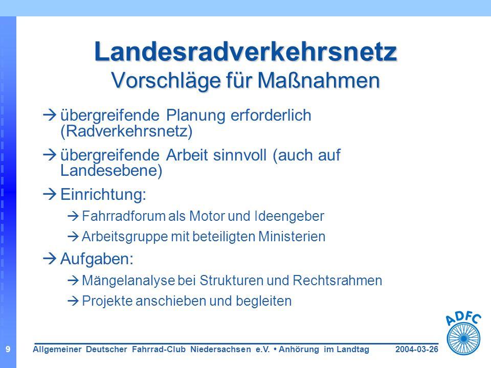 2004-03-26Allgemeiner Deutscher Fahrrad-Club Niedersachsen e.V. Anhörung im Landtag9 Landesradverkehrsnetz Vorschläge für Maßnahmen übergreifende Plan