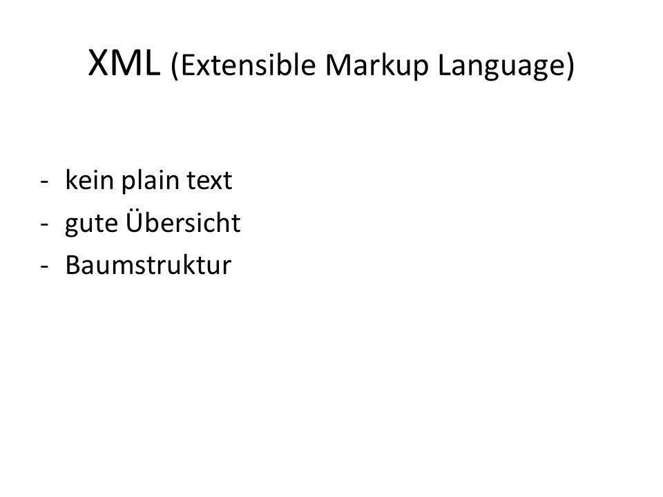 XML (Extensible Markup Language) -kein plain text -gute Übersicht -Baumstruktur