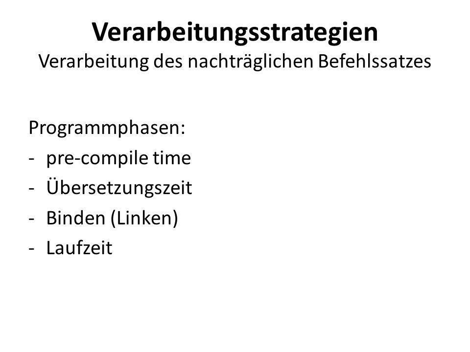 Verarbeitungsstrategien Verarbeitung des nachträglichen Befehlssatzes Programmphasen: -pre-compile time -Übersetzungszeit -Binden (Linken) -Laufzeit