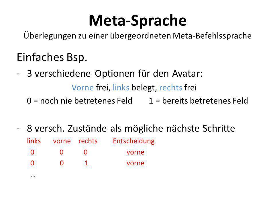Meta-Sprache Überlegungen zu einer übergeordneten Meta-Befehlssprache Einfaches Bsp. -3 verschiedene Optionen für den Avatar: Vorne frei, links belegt