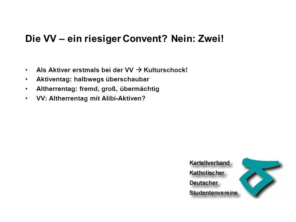 Die VV – ein riesiger Convent. Nein: Zwei. Als Aktiver erstmals bei der VV Kulturschock.