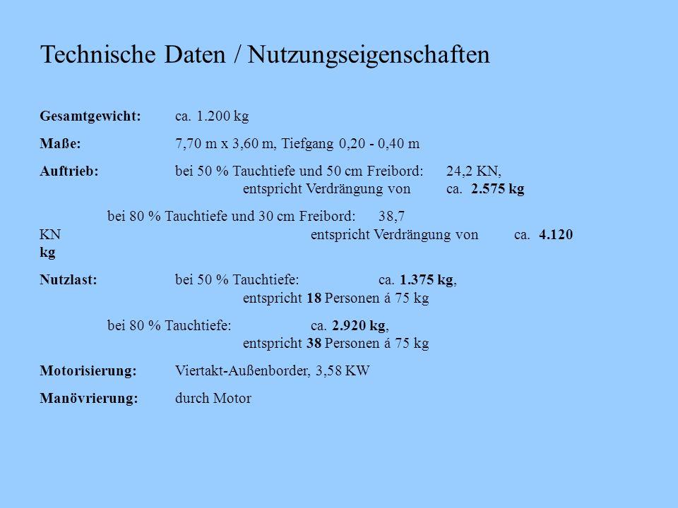 Technische Daten / Nutzungseigenschaften Gesamtgewicht:ca. 1.200 kg Maße:7,70 m x 3,60 m, Tiefgang 0,20 - 0,40 m Auftrieb:bei 50 % Tauchtiefe und 50 c