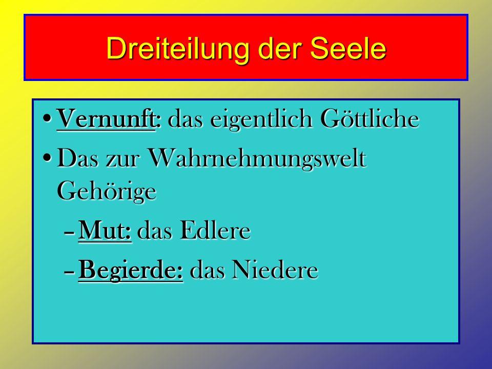 Dreiteilung der Seele Vernunft: das eigentlich GöttlicheVernunft: das eigentlich Göttliche Das zur Wahrnehmungswelt GehörigeDas zur Wahrnehmungswelt G