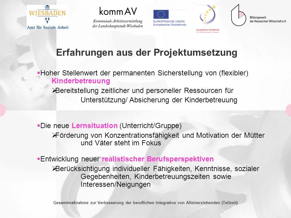 Gesamtmaßnahme zur Verbesserung der beruflichen Integration von Alleinerziehenden (Teilzeit) Erfahrungen aus der Projektumsetzung Hoher Stellenwert de