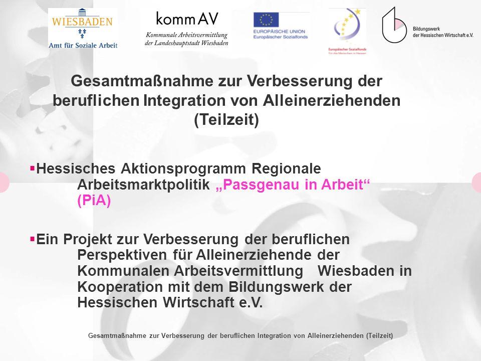 Ausgangssituation in der Landeshauptstadt Wiesbaden 12,6% aller Wiesbadener Haushalte beziehen Leistungen nach dem SGB II; das entspricht 14.358 Bedarfsgemeinschaften 44,4% aller Alleinerziehenden in Wiesbaden beziehen Leistungen nach dem SGB II; das entspricht 2.872 Bedarfsgemeinschaften (20% aller Bedarfsgemeinschaften) 2014 Alleinerziehende mit Leistungen nach dem SGB II haben Kinder unter 10 Jahren Gesamtmaßnahme zur Verbesserung der beruflichen Integration von Alleinerziehenden (Teilzeit)