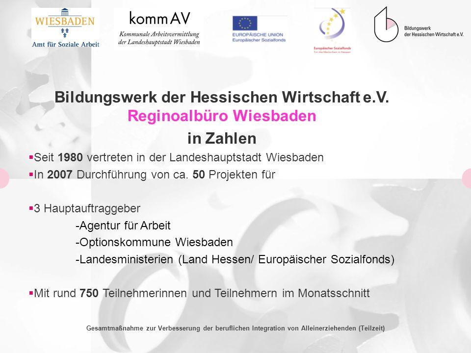 Bildungswerk der Hessischen Wirtschaft e.V. Reginoalbüro Wiesbaden in Zahlen Seit 1980 vertreten in der Landeshauptstadt Wiesbaden In 2007 Durchführun