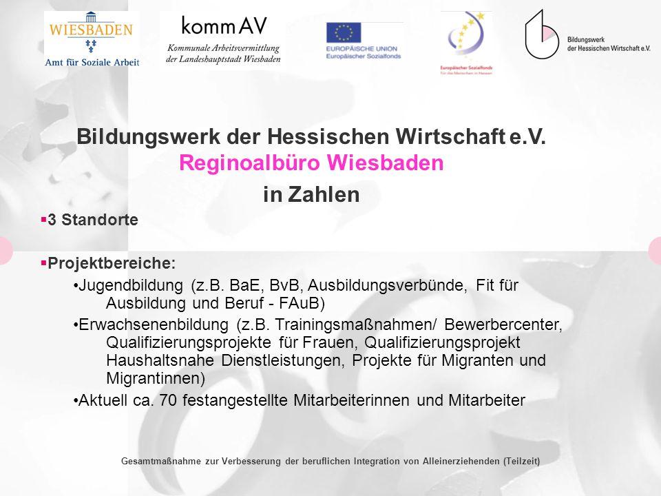 Bildungswerk der Hessischen Wirtschaft e.V. Reginoalbüro Wiesbaden in Zahlen 3 Standorte Projektbereiche: Jugendbildung (z.B. BaE, BvB, Ausbildungsver