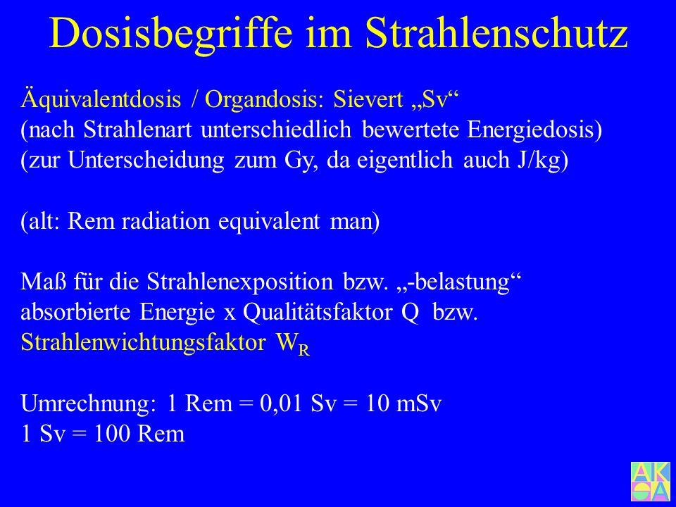 Dosisbegriffe im Strahlenschutz Energiedosis J/kg = Gray Gy (alt: Rad [rd] radiation absorbed dose) Energiemenge, die ein Stoff pro Masse bei Wechselw