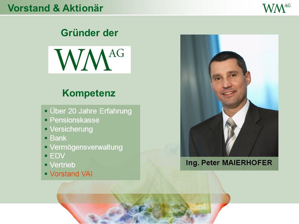 Vorstand & Aktionär Über 20 Jahre Erfahrung Pensionskasse Versicherung Bank Vermögensverwaltung EDV Vertrieb Vorstand VAI Personen Gründer der Kompetenz Ing.