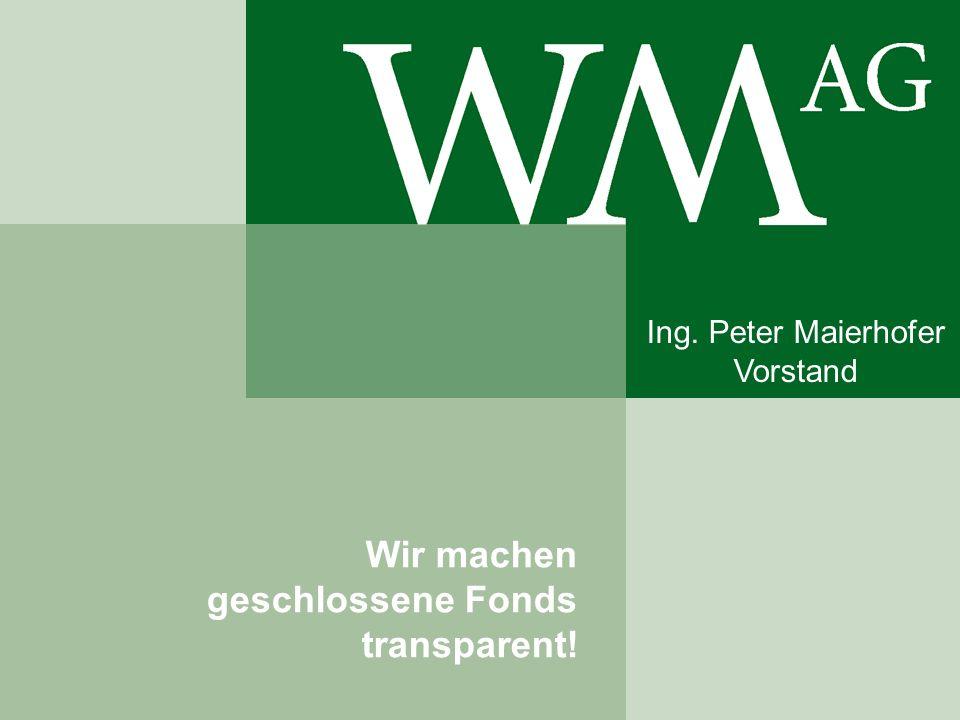 Wir machen geschlossene Fonds transparent! Ing. Peter Maierhofer Vorstand
