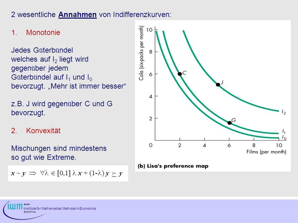 Institute for Mathematical Methods in Economics Economics Der Absolutbetrag des Anstiegs der Indifferenzkurve ist als die Grenzrate der Substitution (MRS = marginal rate of substitution) bekannt.