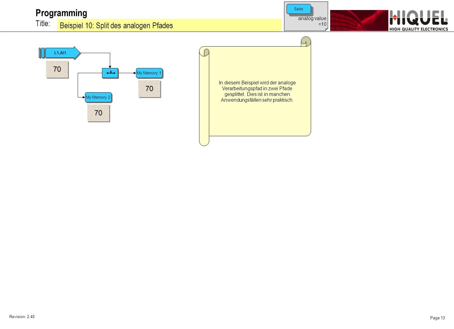 Revision: 2.40 Page 13 Title: Programming Beispiel 10: Split des analogen Pfades In diesem Beispiel wird der analoge Verarbeitungspfad in zwei Pfade gesplittet.