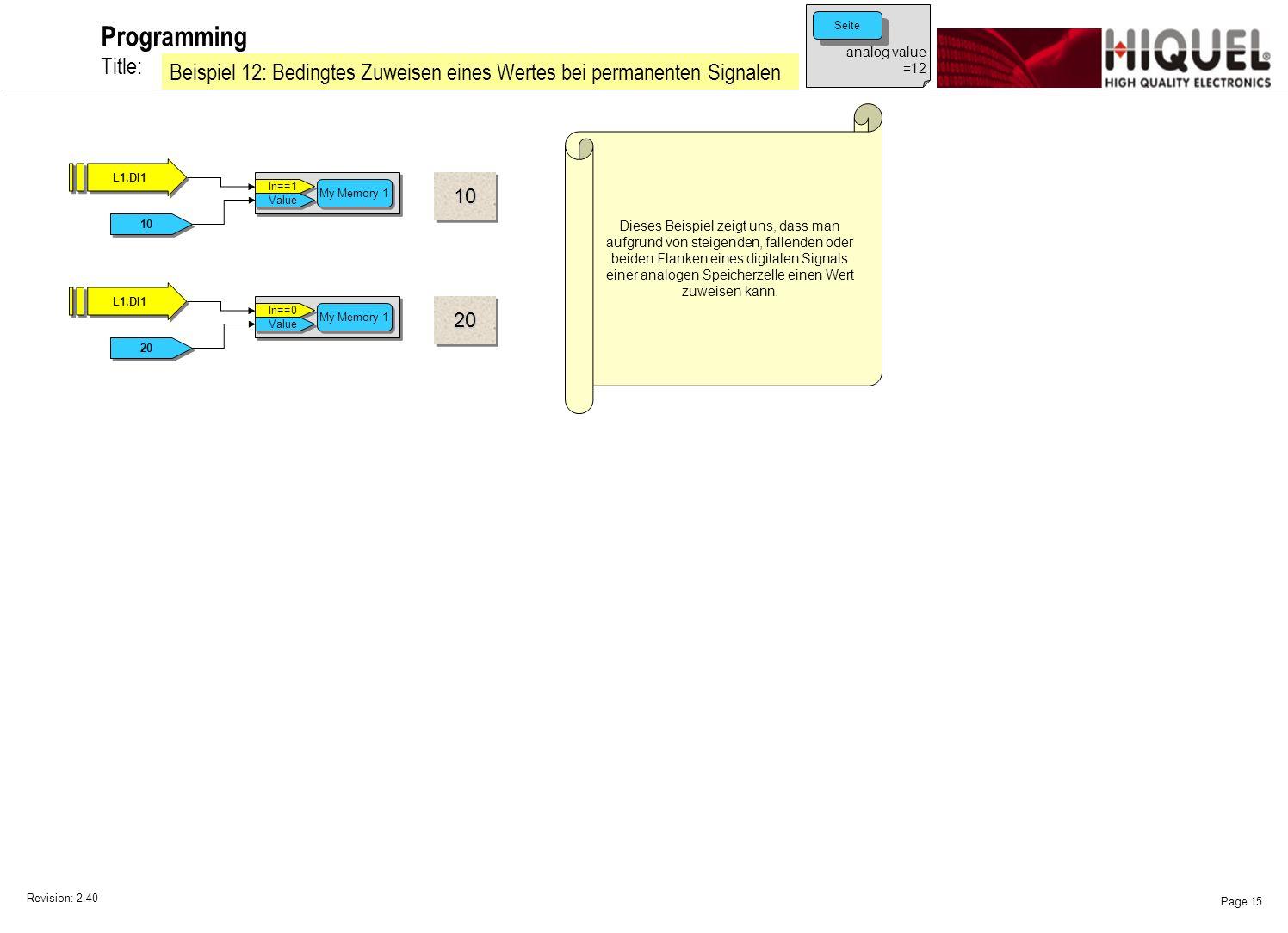 Revision: 2.40 Page 15 Title: Programming Beispiel 12: Bedingtes Zuweisen eines Wertes bei permanenten Signalen Dieses Beispiel zeigt uns, dass man aufgrund von steigenden, fallenden oder beiden Flanken eines digitalen Signals einer analogen Speicherzelle einen Wert zuweisen kann.