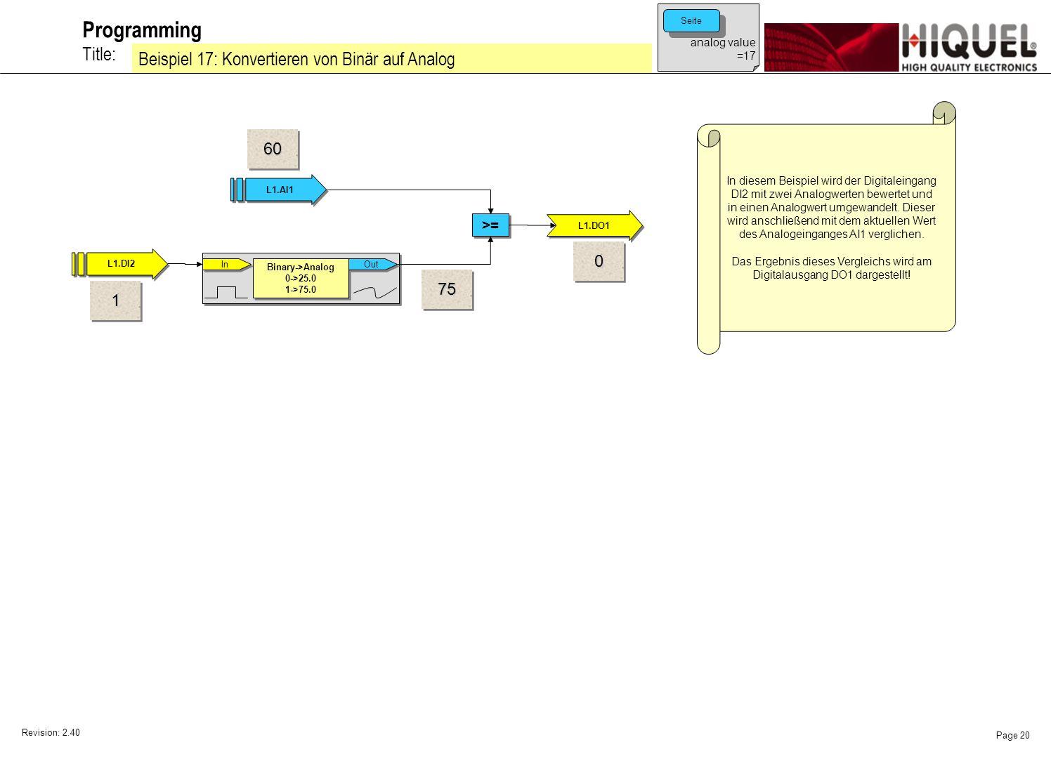 Revision: 2.40 Page 20 Title: Programming Beispiel 17: Konvertieren von Binär auf Analog In diesem Beispiel wird der Digitaleingang DI2 mit zwei Analogwerten bewertet und in einen Analogwert umgewandelt.