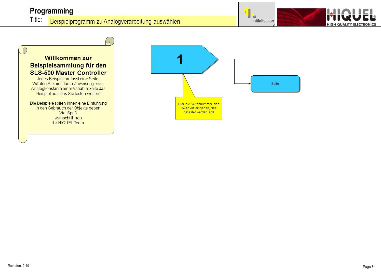 Revision: 2.40 Page 3 Title: Programming Beispielprogramm zu Analogverarbeitung auswählen Willkommen zur Beispielsammlung für den SLS-500 Master Controller Jedes Beispiel umfasst eine Seite.