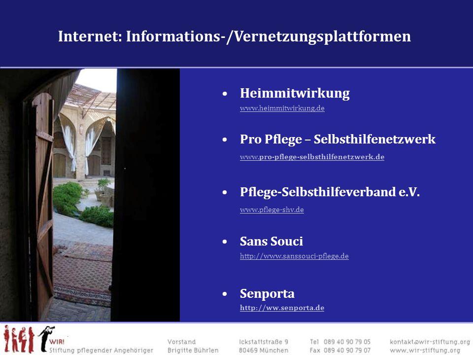 Internet: VernetzungFachforen & VernetzungsplattformenInternet: VernetzungFachforen & Vernetzungsplattformen Heimmitwirkung www.heimmitwirkung.de Pro