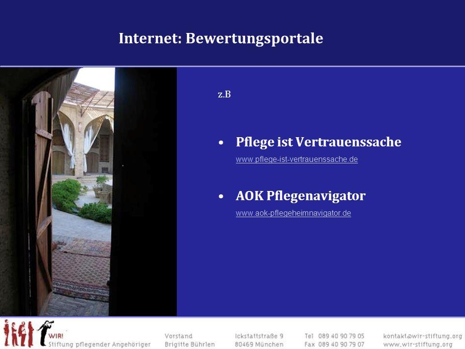 Internet : Schulungs- & BewertungsangeboteInternet : Schulungs- & Bewertungsangebote z.B Pflege ist Vertrauenssache www.pflege-ist-vertrauenssache.de