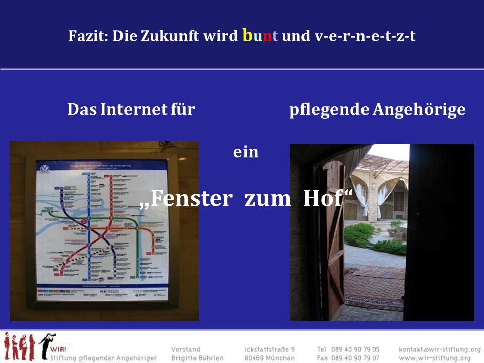 Fazit: Die Zukunft wird b unt und v-e-r-n-e-t-z-t Das Internet für pflegende Angehörige ein Fenster zum Hof